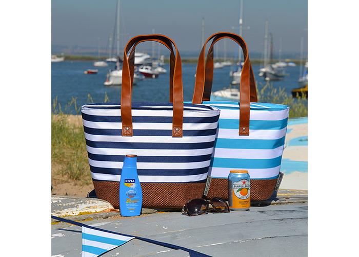 Navigate Coast Insulated Shoulder Tote Aqua And White - 2