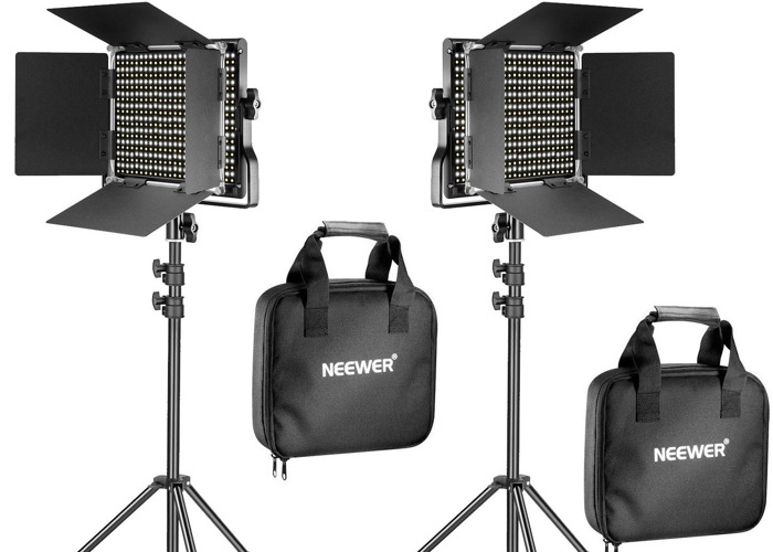 2 x Neewer 2 Pieces Bi-color 660 LED Video Light and Stand Kit - 1
