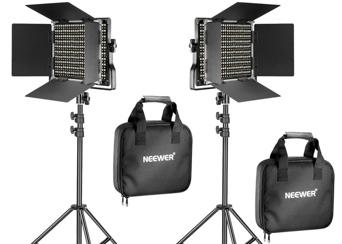 Neewer 2 Pieces Bi-color 660 LED Video Light and Stand Kit - 1