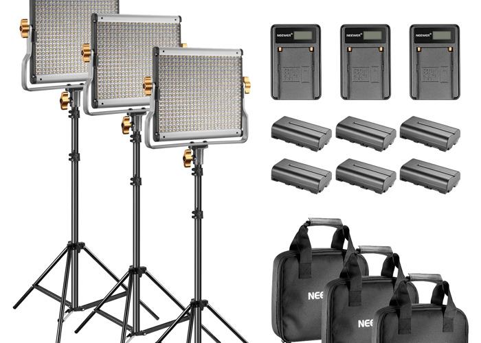 Neewer 3 Bi-color 480 LED Lights & stands & batts - 2