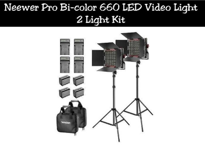 Neewer Pro Bi-color 660 LED Video Light | 2 Light Kit - 1