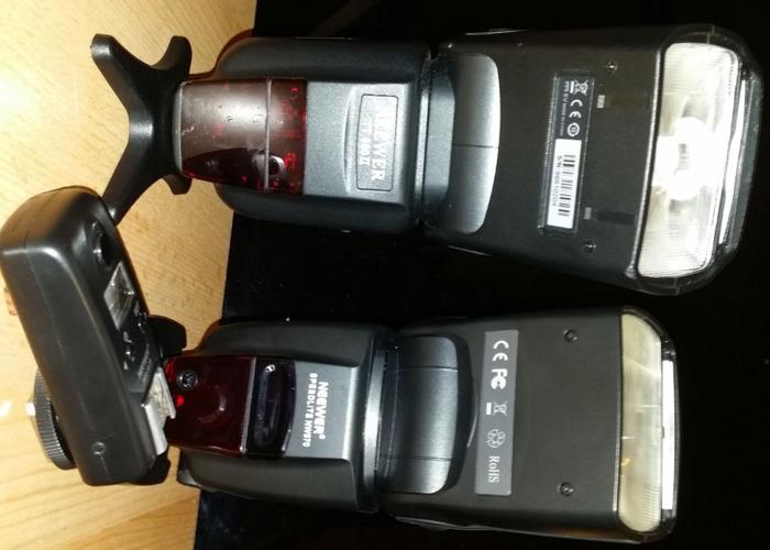 Neewer Speedlites Set of Two + Transmitter + Gels + Cases - 1