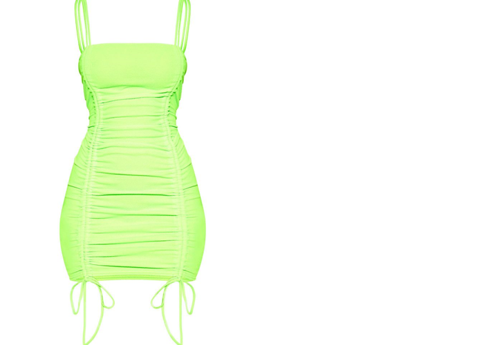 Neon Green Ruched Dress - 2