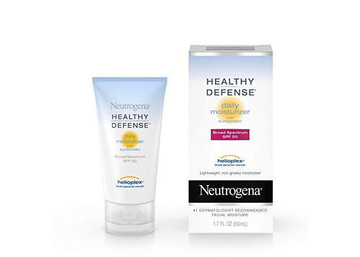 Neutrogena Healthy Defense Daily Moisturizer with Broad Spectrum SPF 50 Sunscreen, Vitamin E & Anti-Oxidants, Lightweight, Non-Greasy & Hypoallergenic, 1.7 fl. oz (Pack of 2) - 1