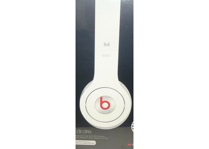 New Beats by Dr. Dre SOLO White On-Ear Headphones W/ ControlTalk HTC Compatible  - 1
