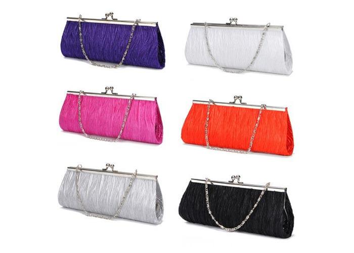 New Elegant Satin Pleated Bridal Evening Clutch Handbag - 2
