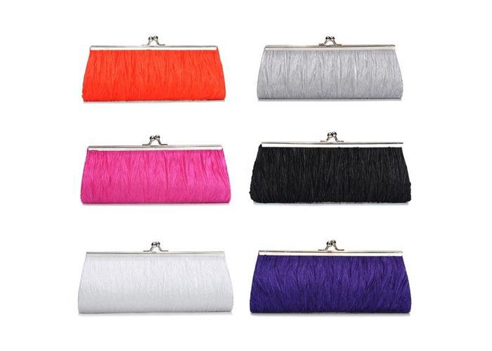 New Elegant Satin Pleated Bridal Evening Clutch Handbag - 1