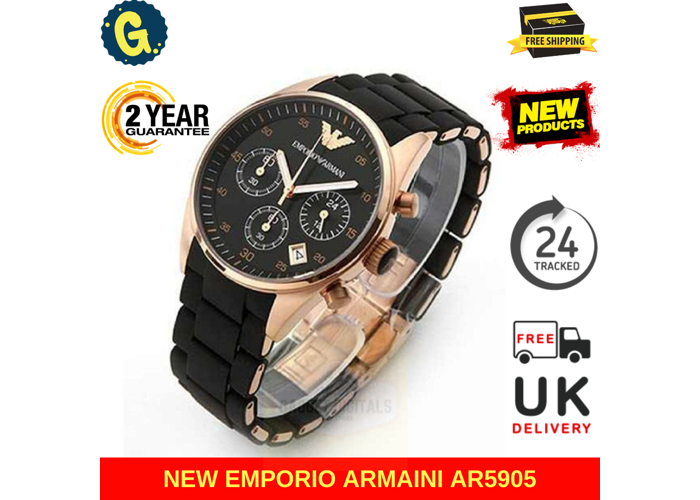 NEW EMPORIO ARMANI AR5905 MENS WATCH ROSE GOLD BLACK SILICONE RUBBER CHRONOGRAPH - 1