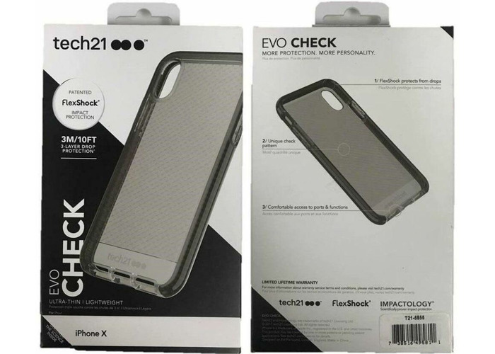 low priced 3a205 5e2f4 NEW GENUINE TECH21 SMOKEY BLACK EVO CHECK CASE COVER FOR IPHONE X IPHONE XS