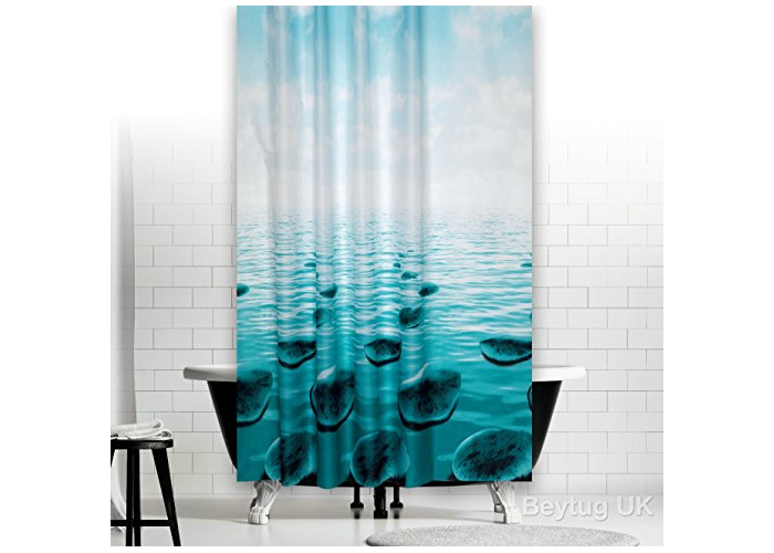 "New modern bathroom shower curtain extra long and wide 240 x 200CM (94"" x 78"") [Stones] - 1"