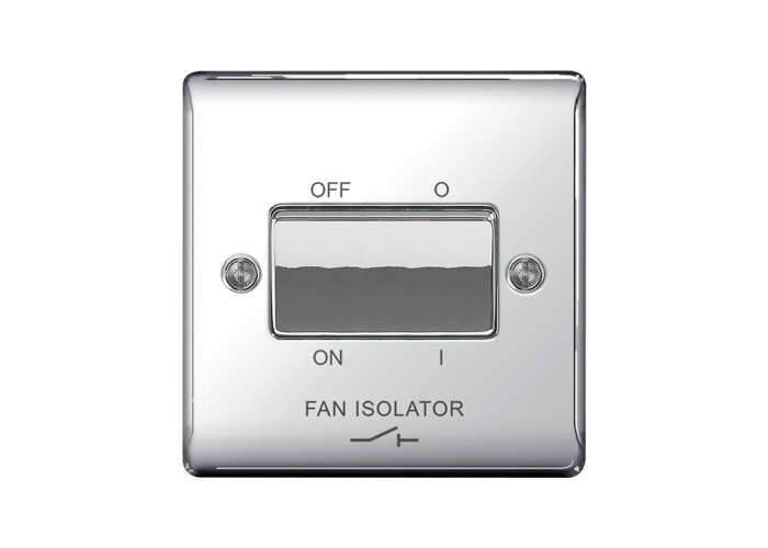 Nexus Metal 10A Fan Isolator Switch, 3 Pole, Polished Chrome Finish - 1
