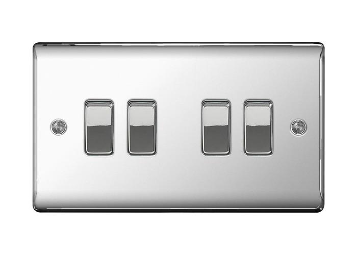 Nexus Metal 10A Four Way Light Switch, Polished Chrome Finish - 1