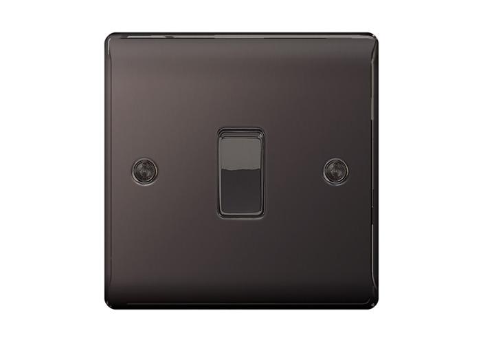 Nexus Metal 10A Single Light Switch, Black Nickel Finish - 1