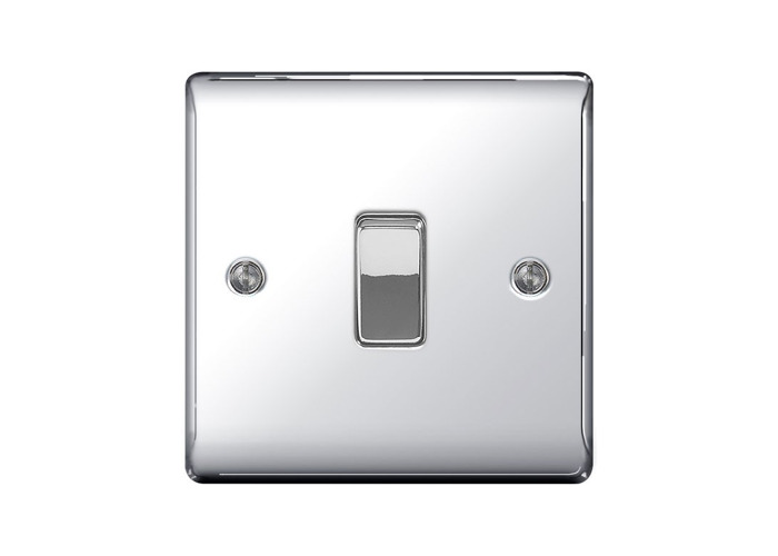 Nexus Metal 10A Single Light Switch, Polished Chrome Finish - PACK OF 5 - 1