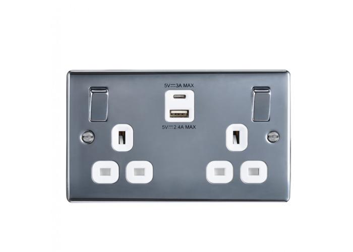 Nexus Metal 13A Double Plug Socket With 1 x USB A (2.1A) + 1 X USB C (3A) Polished Chrome Finish, White Inserts - 1