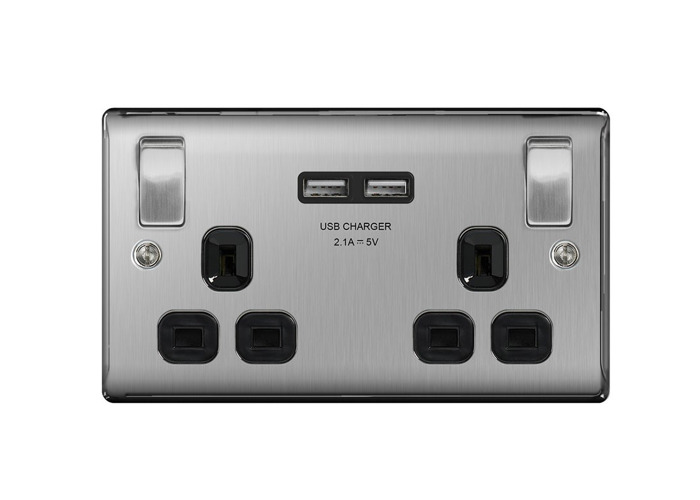Nexus Metal 13A Double Plug Socket with 2 x USB Charger (2.1A), Brushed Steel Finish, Black Inserts - 1