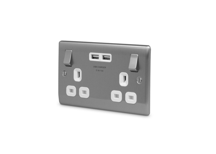 Nexus Metal 13A Double Plug Socket with 2 x USB Charger (3.1A), Brushed Steel Finish, White Inserts - 1