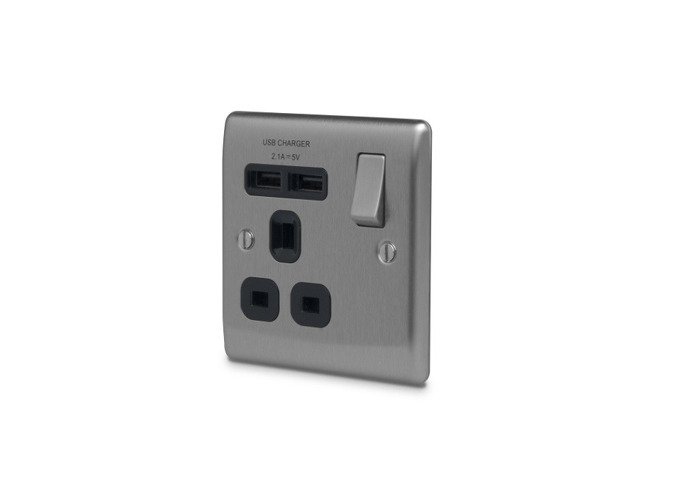 Nexus Metal 13A Single Plug Socket with 2 x USB Charger, Brushed Steel Finish, Black Inserts - 1