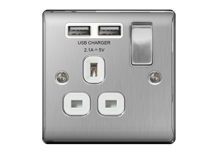 Nexus Metal 13A Single Plug Socket with 2 x USB Charger, Brushed Steel Finish, White Inserts - 1