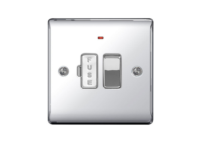 Nexus Metal 13A Switched Fused Connection Unit With Neon Power Indicator, Polished Chrome Finish - 1