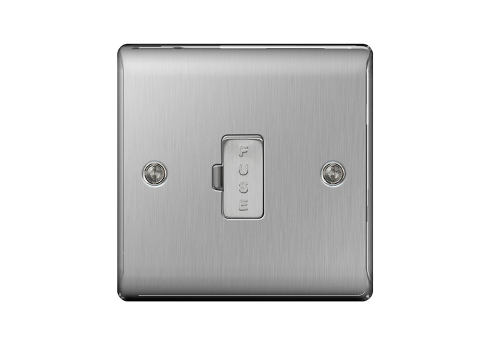 Nexus Metal 13A Un-Switched Fused Connection Unit, Brushed Steel Finish - 1