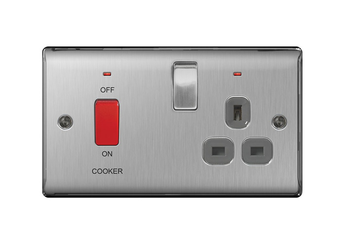 Nexus Metal 45A Single Cooker Switch and 13A Plug Socket, Brushed Steel Finish, Grey Inserts - 1