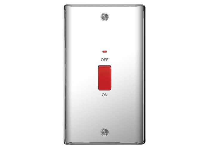 Nexus Metal 45A Single Cooker Switch, Polished Chrome Finish - 1