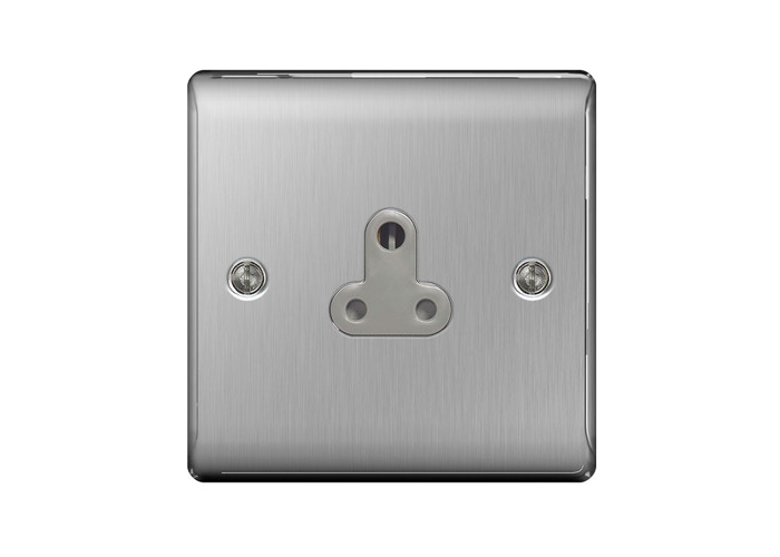 Nexus Metal 5A Single Round Pin Socket, Un-switched, Brushed Steel Finish, Grey Inserts - 1