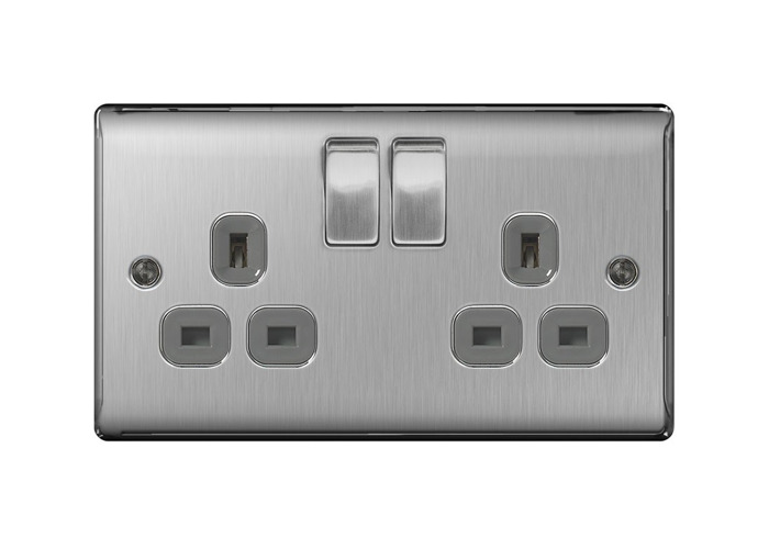 Nexus Metal Double 13A Plug Socket, Brushed Steel Finish, Grey Inserts - 1