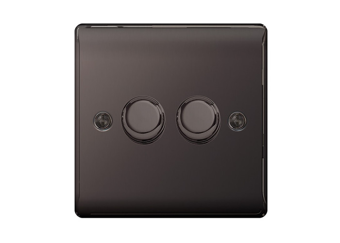 Nexus Metal Double Dimmer Switch, Push On/Off 400W, Black Nickel Finish - 1