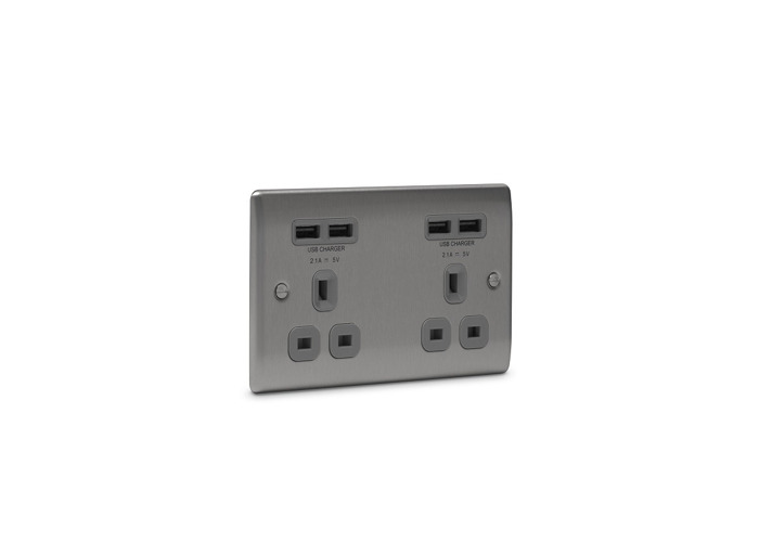 Nexus Metal Double Plug Socket with 4 x USB Charger (2 x 2.1A), Brushed Steel Finish, Black Inserts - 1