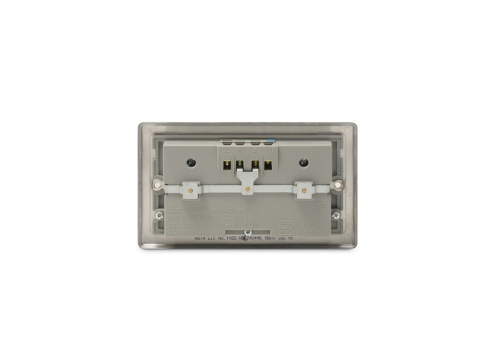 Nexus Metal Double Plug Socket with 4 x USB Charger (2 x 2.1A), Brushed Steel Finish, Grey Inserts - 1