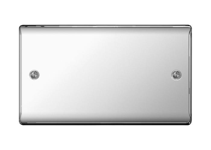 Nexus Metal Double Socket Blanking Plate, Polished Chrome Finish - 1