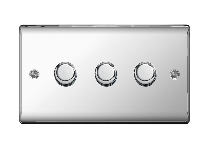 Nexus Metal Triple Dimmer Switch, Push On/Off 400W, Polished Chrome Finish - 1