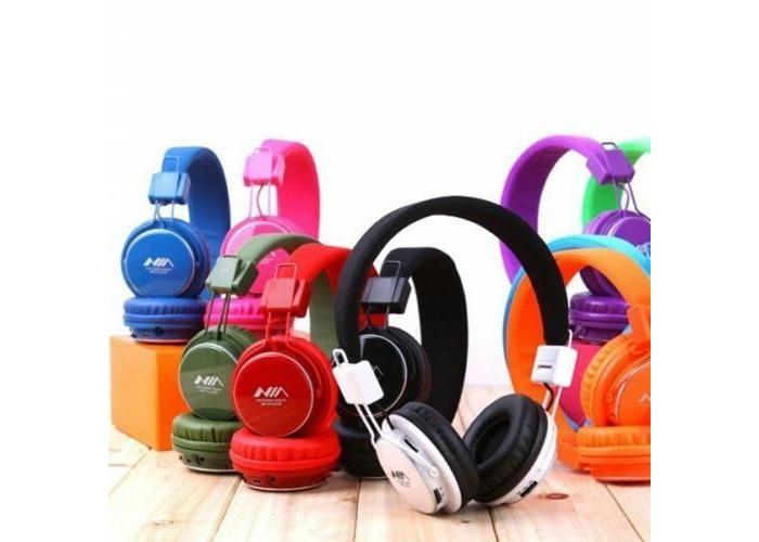 NIA Collapsible Micro SD/FM Radio/MP3 Player Bluetooth Headphone With Mic - 1