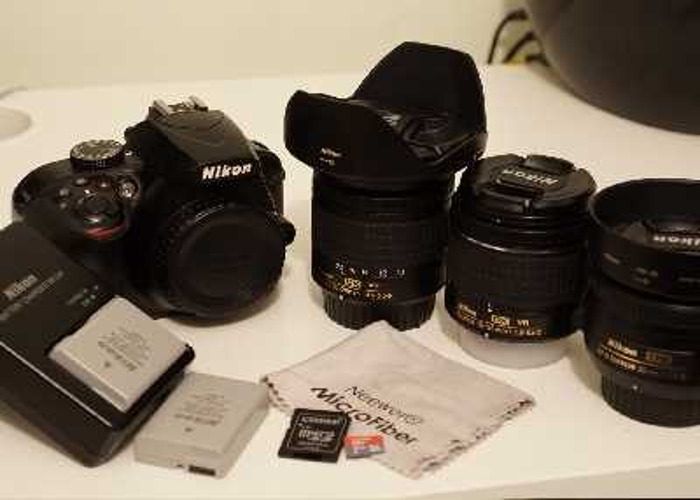 Nikon D3400 + 3 Lenses, Batteries, SD Card & More - 1