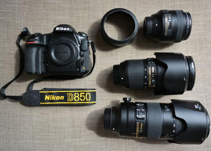 Nikon D850 + 24-70 f2.8E  VR + 85 f1.8G + 70-200 f2.8E VR - 1