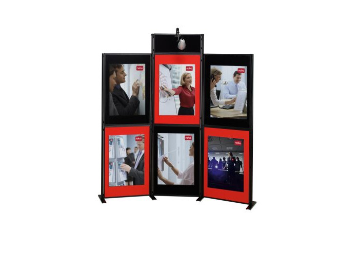 Nobo Showboard Display 9kg 6 Panels Each of W600xH900xD20mm Sides Black and Red Ref 1900046 - 1