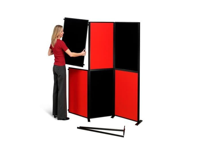 Nobo Showboard Display 9kg 6 Panels Each of W600xH900xD20mm Sides Black and Red Ref 1900046 - 2