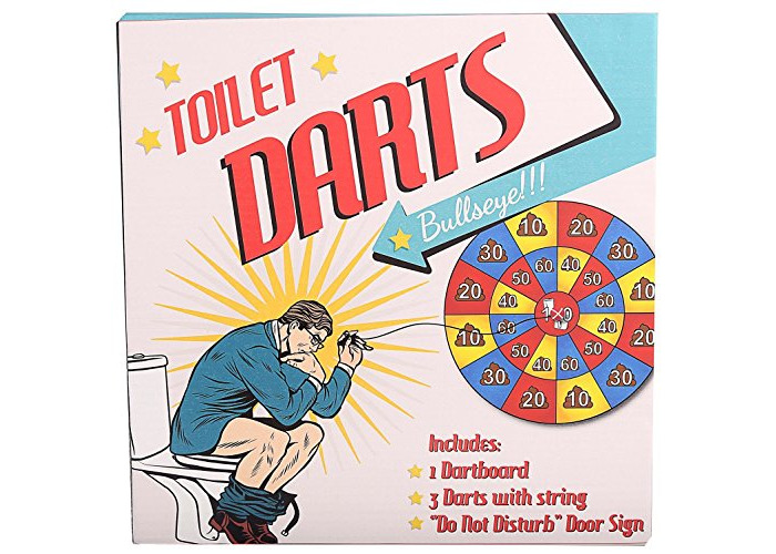 Novelty Toilet Darts Game Target Practice ~ Miniature Darts Set For The Loo - 1