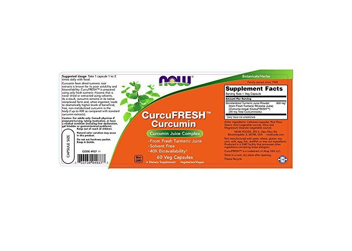 Now Foods Curcufresh&Trade; Curcumin, 60 Vegetarian Capsules, 1 Units - 2