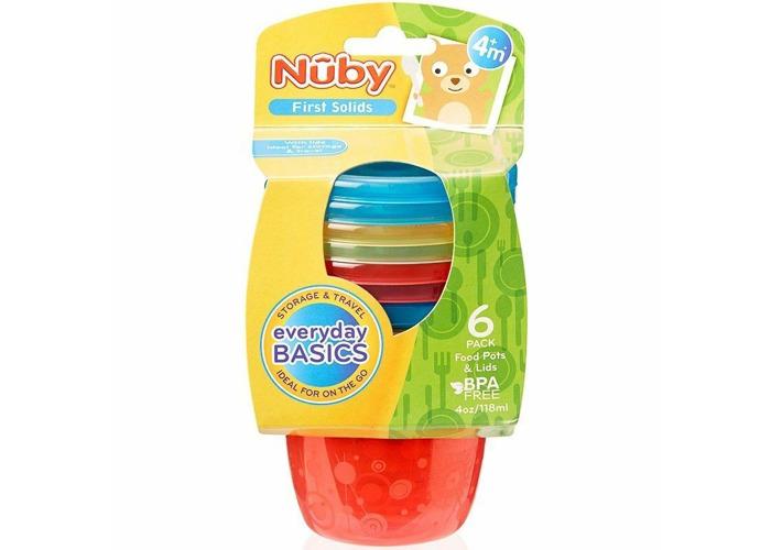 Nuby Food Pots Baby Freezer Fruits Food & Snack Storage Bowl Pots with Lids 6pk - 1