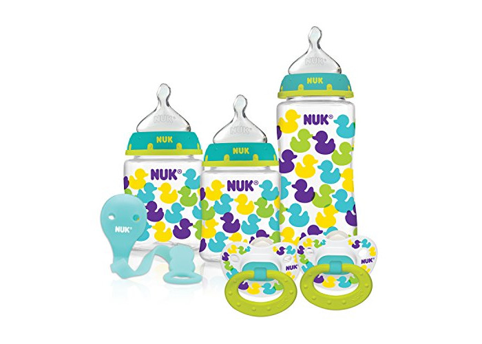 NUK Fashion Confetti Ducks Orthodontic Bottle and Pacifier Gift Starter Set by NUK - 1