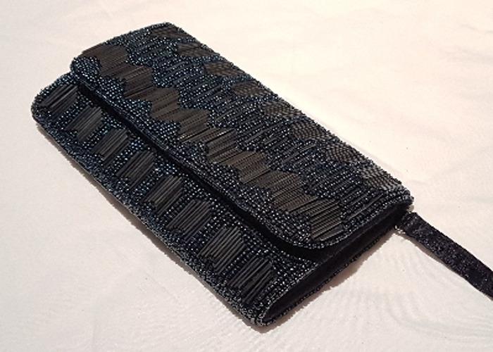Occasion bag, Evening bag, Beaded Navy Clutch, handbag - 2