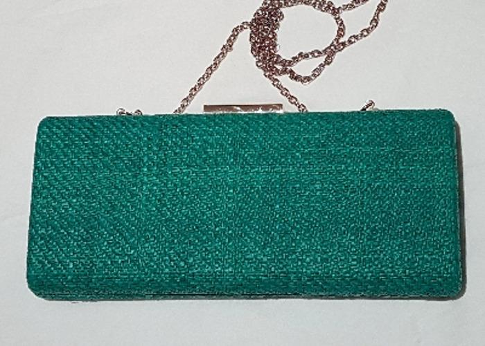 Occasion bag, Evening bag, Green Raffia Clutch, handbag - 1