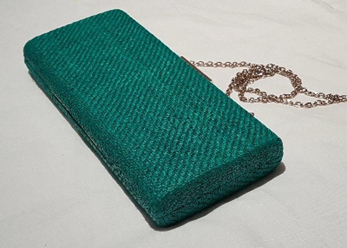 Occasion bag, Evening bag, Green Raffia Clutch, handbag - 2