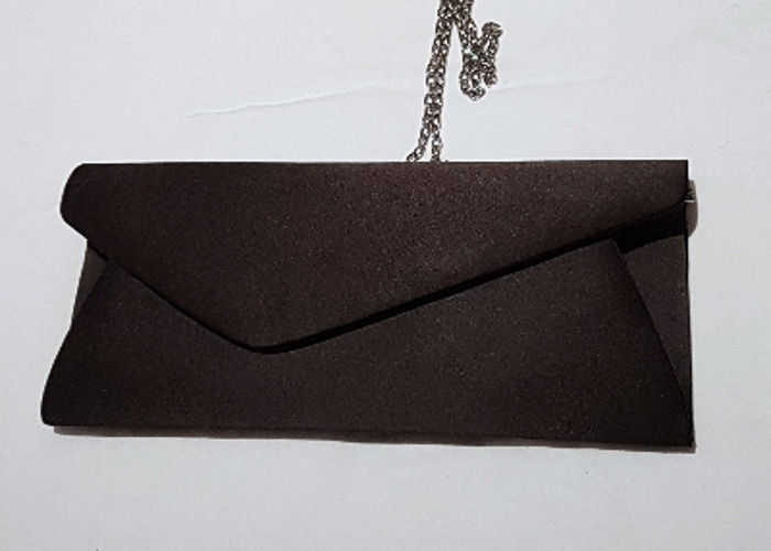 Occasion bag, Evening bag, Satin Black Clutch, handbag - 1
