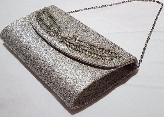 Occasion bag, Evening bag, Silver Clutch, handbag - 2