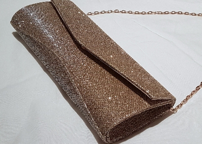 Occasion bag, Evening bag, Sparkly Gold Clutch, handbag - 2