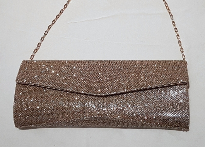 Occasion bag, Evening bag, Sparkly Gold Clutch, handbag - 1